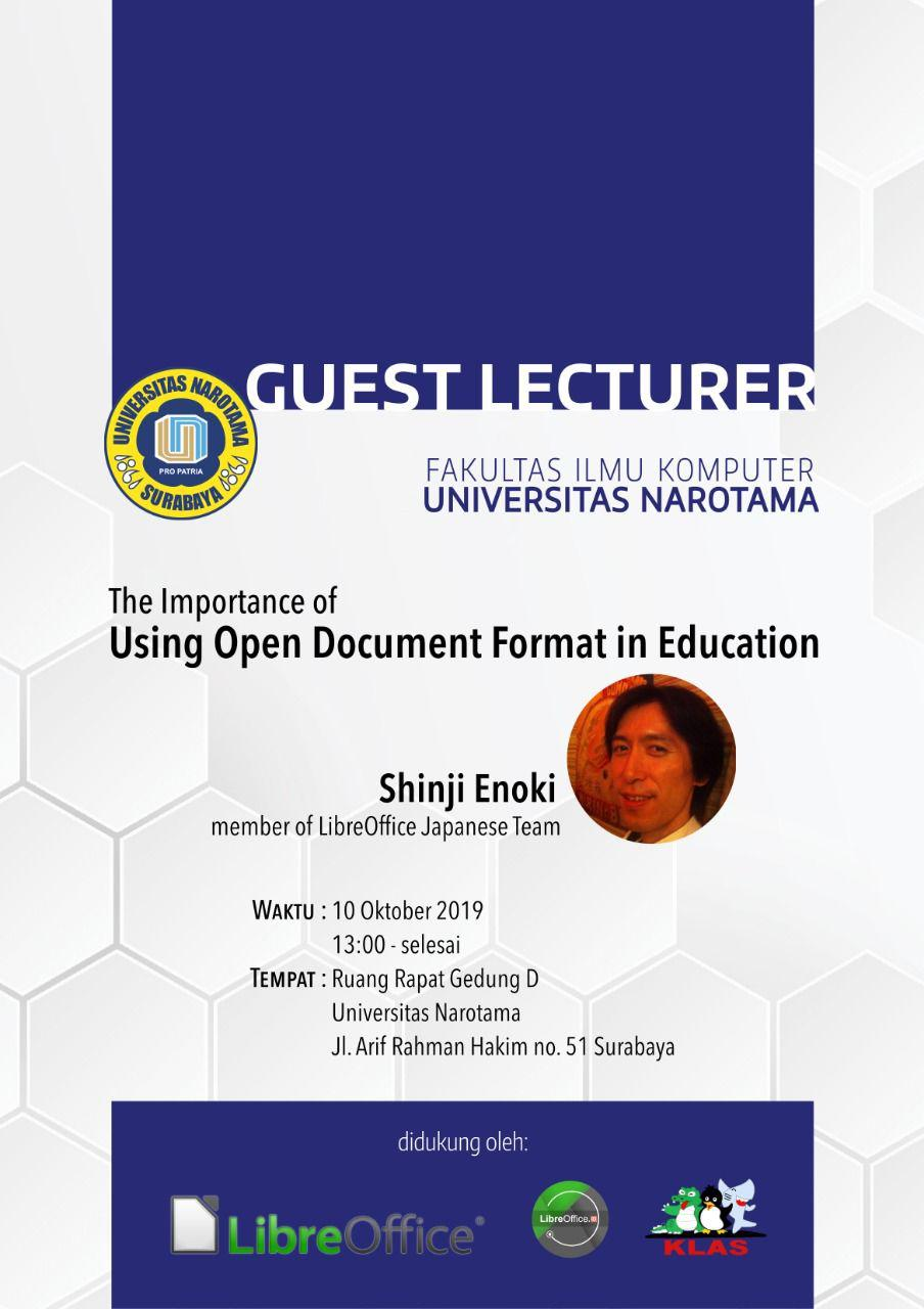 """Narotama University with LibreOffice presents a guest lecturer """"The Importance of Using Open Document Format in Education"""""""